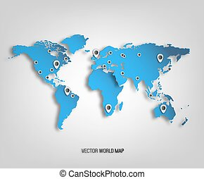 World Map - 3D World Map With Shadows And Marks On A Bright...