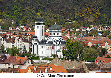 View of Sighisoara town, Romania - View of the cityscape and...