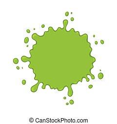 Green slime splash blot. Slime blot isolated on white...
