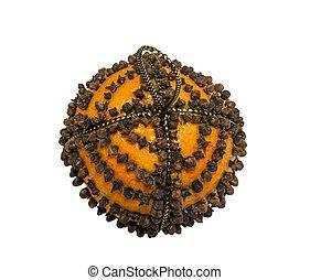 Orange Pomander studded with cloves - Orange Pomander...