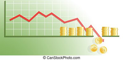 Falling chart with gold coins. Chart hit bottom line. Vector...