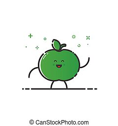 Vector illustration of funny apple character cartoon isolated in line style.