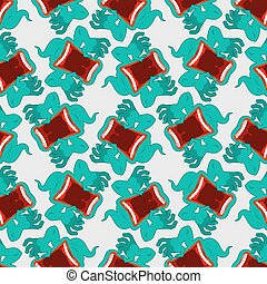 Ghost seamless pattern. Terrible howling wraith background....