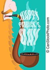 Patricks Day. Leprechaun smokes pipe. Smoking set brier and...