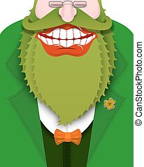 Cheerful leprechaun with green beard. Good gnome with big smile. Old coat with bow tie. Illustration for St. Patricks Day. National Holiday in Ireland