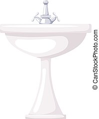 Vector illustration of a ceramic washbasin on a white background. Cartoon sink with faucet.