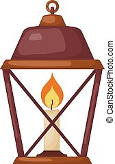 Vector illustration of abstract Cartoon vintage lantern with a candle on a white background.
