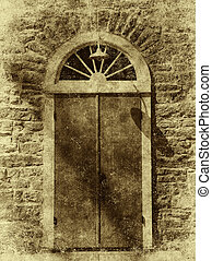 Antique Style Photograph of Arched Door - An old door on a...