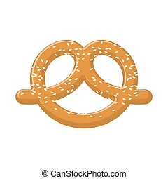 Pretzel with sesame seeds isolated. German national food....