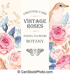 Greeting card with roses - Vector greeting card with vintage...