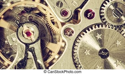 Moving metal gears inside working watch mechanism