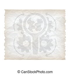 Vector crumpled lined paper with magnifier and cogwheels