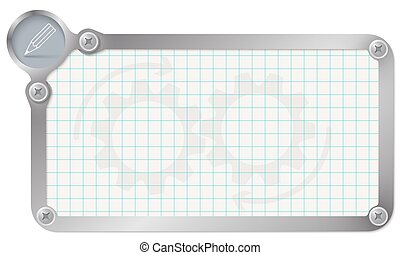 Metal frame for your text with graph paper and pencil