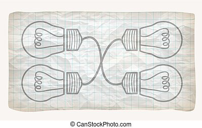 Crumpled graph paper with screwdriver and bulb
