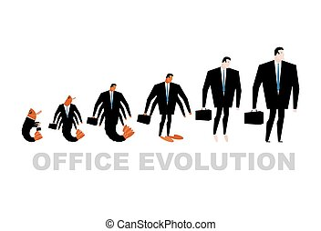 Office Evolution. Office plankton turns into boss. Shrimp in human development. From manager to Director. Marine crustaceans in business suit. Business illustration