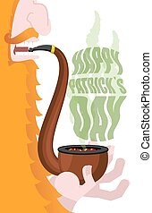 Leprechaun smokes pipe. Patricks Day. Smoking set brier and...