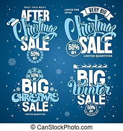 Christmas Sale Design Templates Set with Calligraphy...