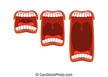 Volume cry. yell level. Stage scream. Open mouth with tongue and teeth. Changes in sound level