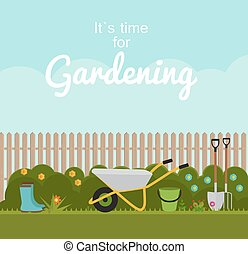 Gardening Flat Background Vector Illustration. Garden Tools, Fence and Bush on Natural Background. Illustration in Modern Flat Style
