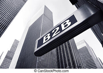 B2B symbol against office buildings