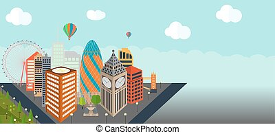 UK, Silhouette London city background. Vector Illustration....