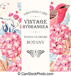 Greeting card with hydrangea - Vector greeting card with...