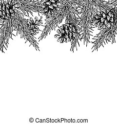 Fir tree and pine cone hand drawn vector square frame for...