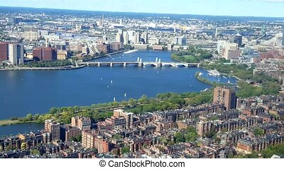 Aerial view of Boston. View of the Boston Harbor where the...