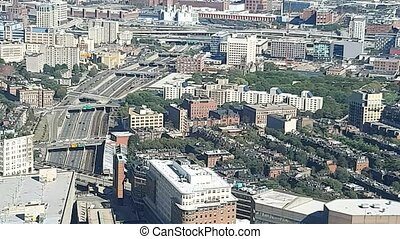 Aerial view of Boston skyscrapers