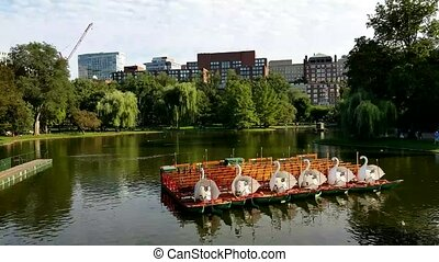 Boston Common public garden lake in Massachusetts USA