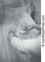 colete, arco, preparação, costas, Noiva, casório, Vestido