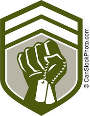 Clenched Fist Dogtag Crest Retro - Illustration of a...