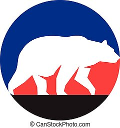 Grizzly Bear Walking Silhouette Circle Retro - Illustration...