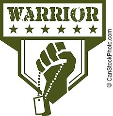 Soldier Hand Clutching Dogtag Warrior Crest Retro -...