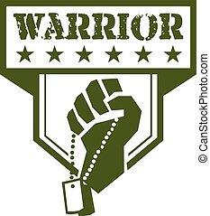 Soldier Hand Clutching Dogtag Warrior Crest Retro -...