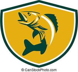 Walleye Fish Jumping Crest Retro - Illustration of a Walleye...