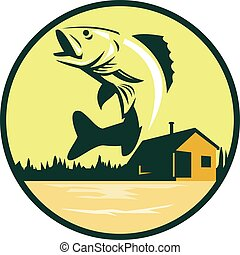 Walleye Fish Lake Lodge Cabin Circle Retro - Illustration of...