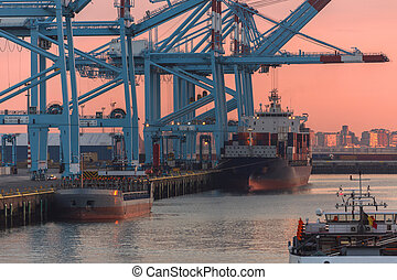 Shipping - Container Port - Logistics - Ship in dock at...