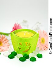 Aroma Therapy Candle - Candle and therapy stone setting with...