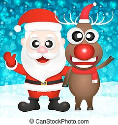 santa claus and red nosed reindeer