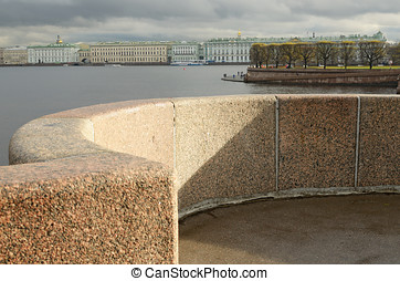 The granite embankment in the city.