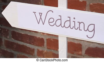 Wedding decor. Wooden plaque with the inscription Wedding -...