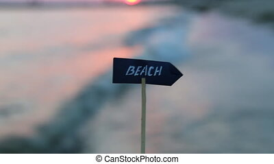 beaches resorts idea - sign and sunset - Vacation holidays...