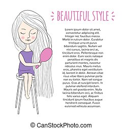 Beautiful style swatch. Sweet girl combing her long hair....