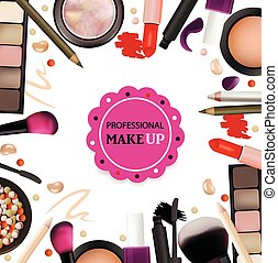 Beauty Make Up Design for Salon, Courses, MakeUp Artists. Cosmetic Products, Professional Make Up, Care. Printable Template for Business Banner, Poster, Voucher, Booklet. Vector Illustration
