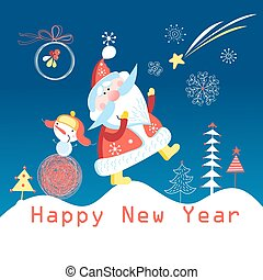 Greeting cards with Santa Claus