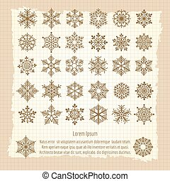 Vintage background with snowflakes set