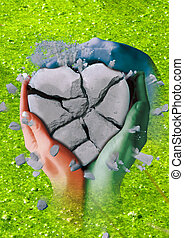 a broken stone heart in three hands - A broken stone heart...