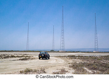 4 x 4 vehicle on a desert track - Taken at Lady's Mile,...