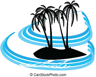 abstract palm island - illustration of abstract palmtree...